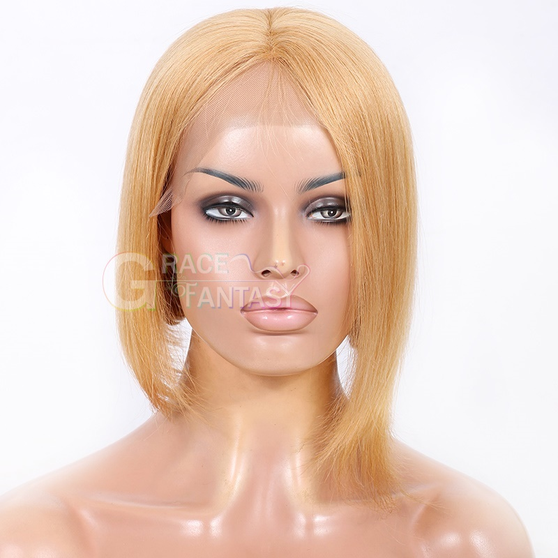 Grace Fantasy Blonde Silky Straight Short Bob Lace Front Human Hair Wigs With Baby Hair For Black Women Remy Hair Glueless Lace Front Wig Pre Plucked Hair