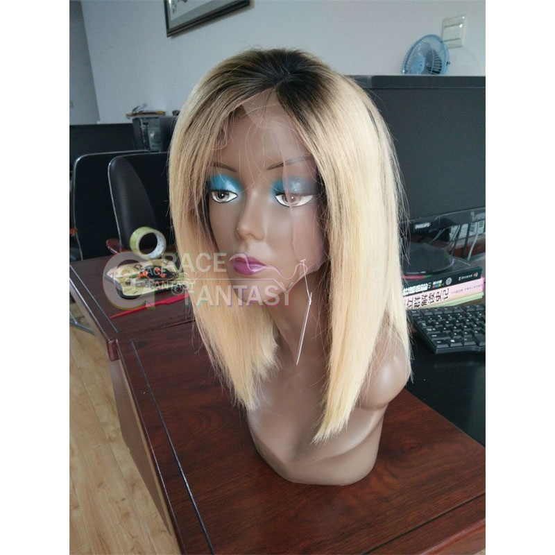 Grace Fantasy Black to Blonde Short Lace Front Wigs Human Hair Straight Brazilian Virgin Human Hair Wigs Pre Plucked Glueless Lace Wigs Human Hair with Baby Hair