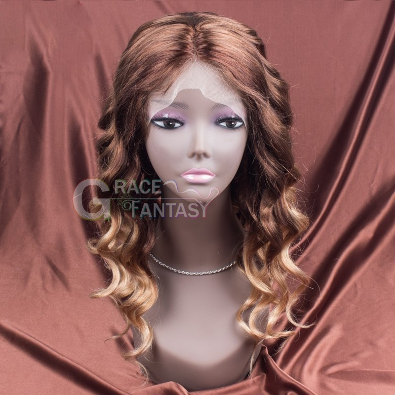 Grace Fantasy Brown to Blonde Lace Front Human Hair Wigs Remy Wigs Human Hair Loose Wave Blonde Color brown Fading to #613 Human Hair Wig 100% Human Hair Curly Wigs