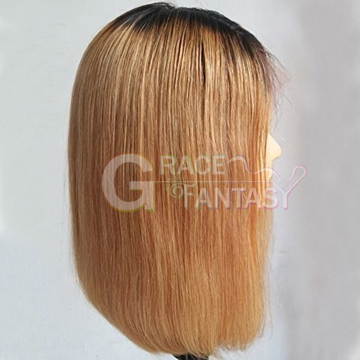 Short Silky Straight Lace Frontal Wigs Bleached Knots for Women