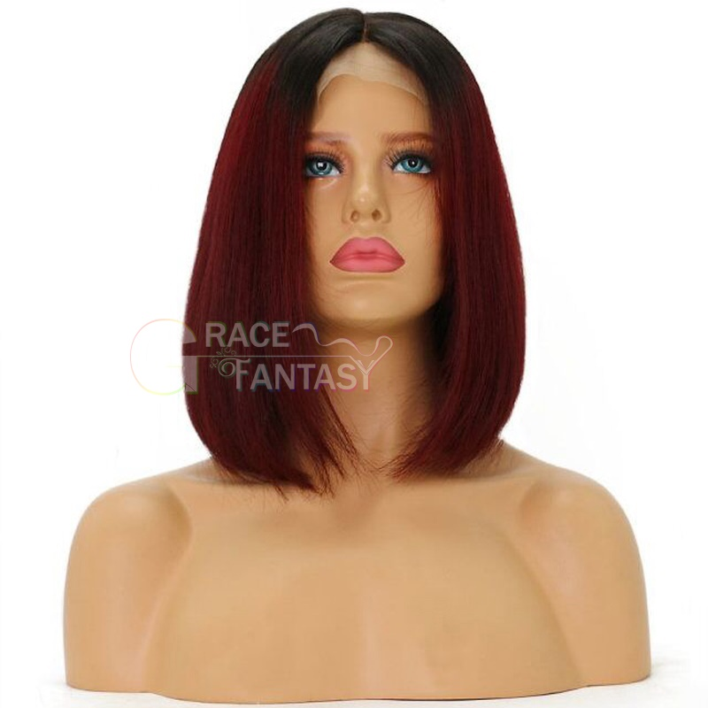 Ombre Bob Wigs Lace Front Human Hair Wigs Brazilian Human Hair Glueless Lace Wigs 1B 99j Two Tone Color Silky Straight Hair Wigs with Baby Hair for Women