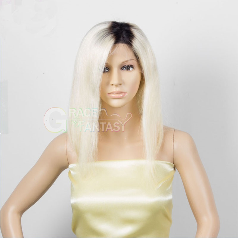 Grace Fantasy Bob Human Hair Lace Front Wigs Silky Straight Blonde Ombre Human Hair Wig Lace Wigs 1B 613 Tone Color Short Wigs
