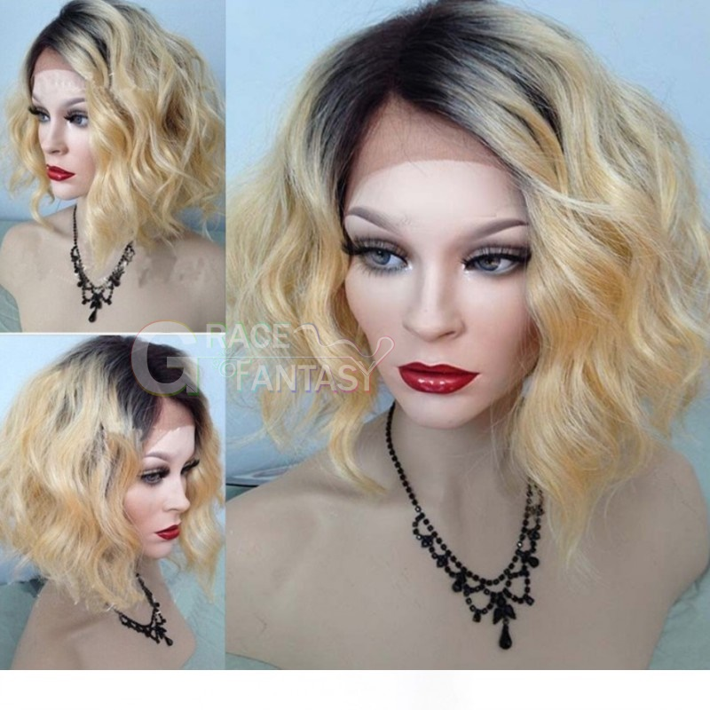Blonde Dark Root Human Hair Ombre Lace Wig Short Bob Curly Wigs 1B #613 Two Tone Color 100% Unprocessed Virgin Human Hair Lace Front Wig with Baby Hair For Women