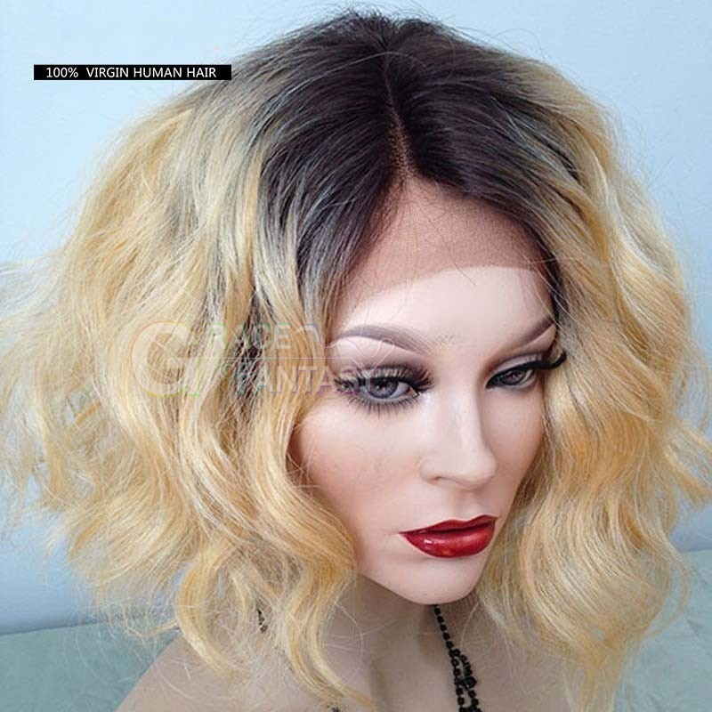 Ombre Lace Wig Short Bob Curly Wigs