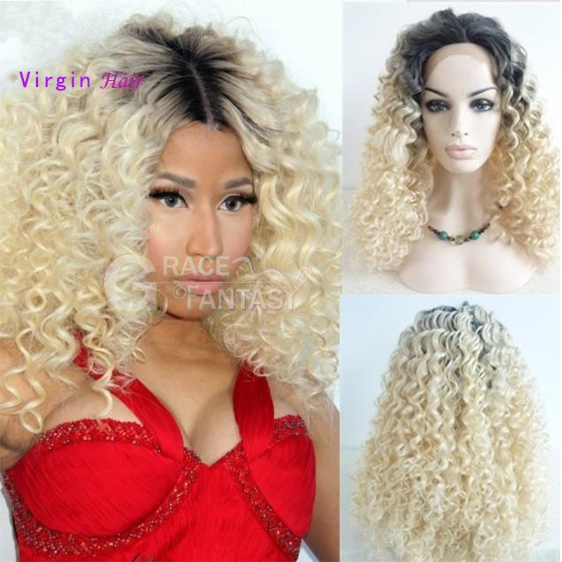 1B Blonde Kinky Curly Human Hair Lace Front Wigs Two Tone Color Virgin Human Hair Blonde Lace Front Wigs Glueless Lace Wig Curly Lace Wigs For Women