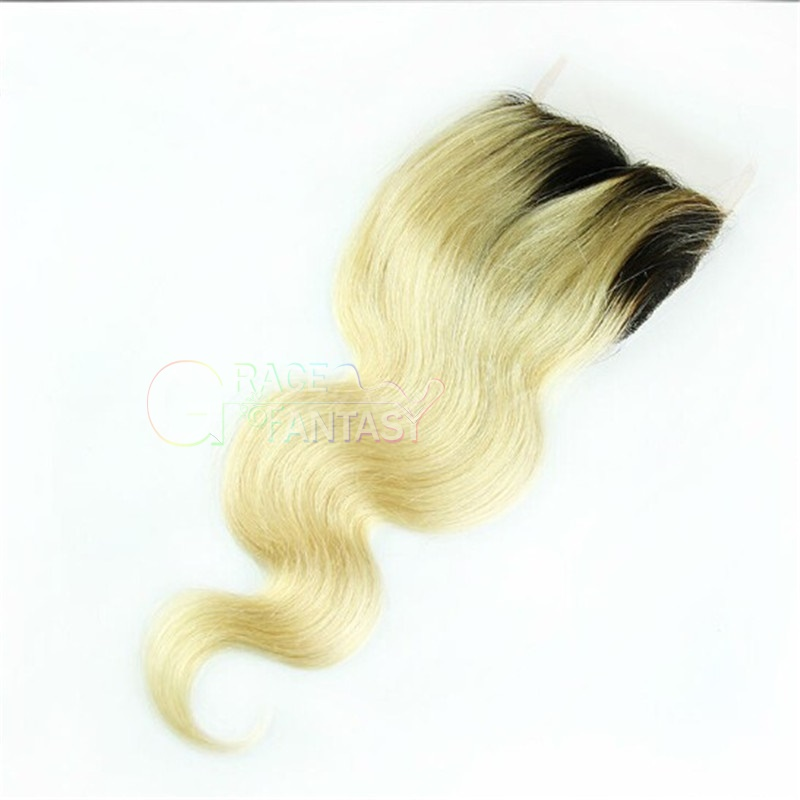 """#613 Blonde Peruvian Lace Front Closures 4X4"""" Bleached Knots Peruvian Body Wave Lace Closure Free Middle Three Part  Blonde Top Lace Closures"""