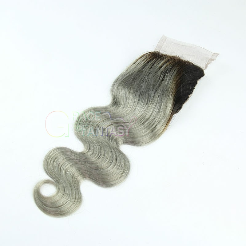 Bleached Knots Free Part Natural Black to Grey