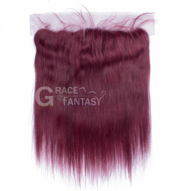 Grace Fantasy Red  Lace Closures Straight Brazilian Virgin Hair Lace Closure Bleached Knots Human Hair Top Closure With Baby Hair Lace Frontal Closures