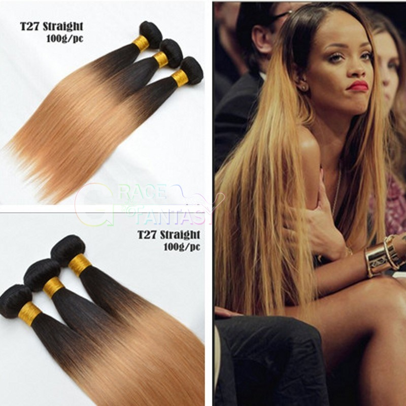 Grace Fantasy Indian Human Hair Straight Hair Bundles Cheap Indian Weft Hair Weave 100%  Human Virgin Hair Extensions 8A Grade Natural Black to Blonde Color