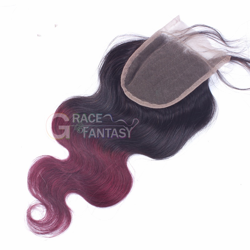 Lace Closures with Bleached Knots Free Part