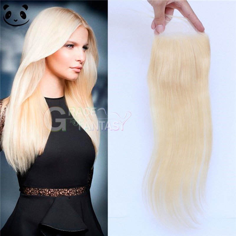Grace Fantasy Blonde Silky Straight Lace Closures with Bleached Knots Free Part Natural Blonde human virgin Hair Lace Top Closure