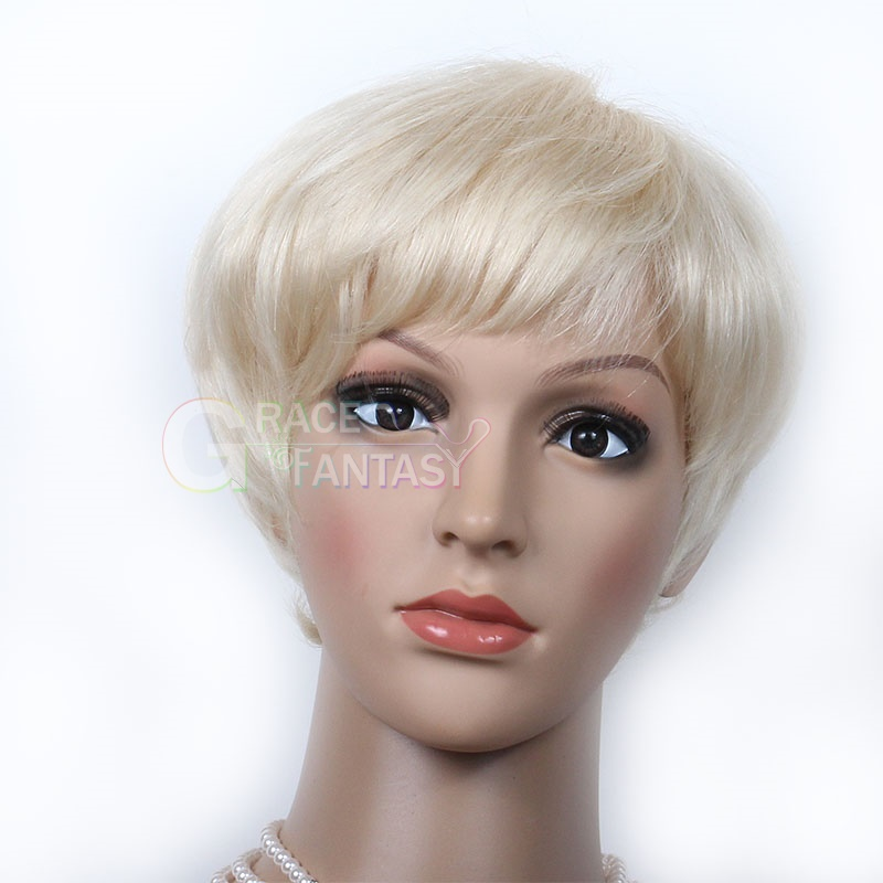 Hight Quality Grace Fantasy Blonde Lace Front Wig BOB Style Remy Human Hair Short Natural Blonde with Baby Hair Natural Straight for Black Women