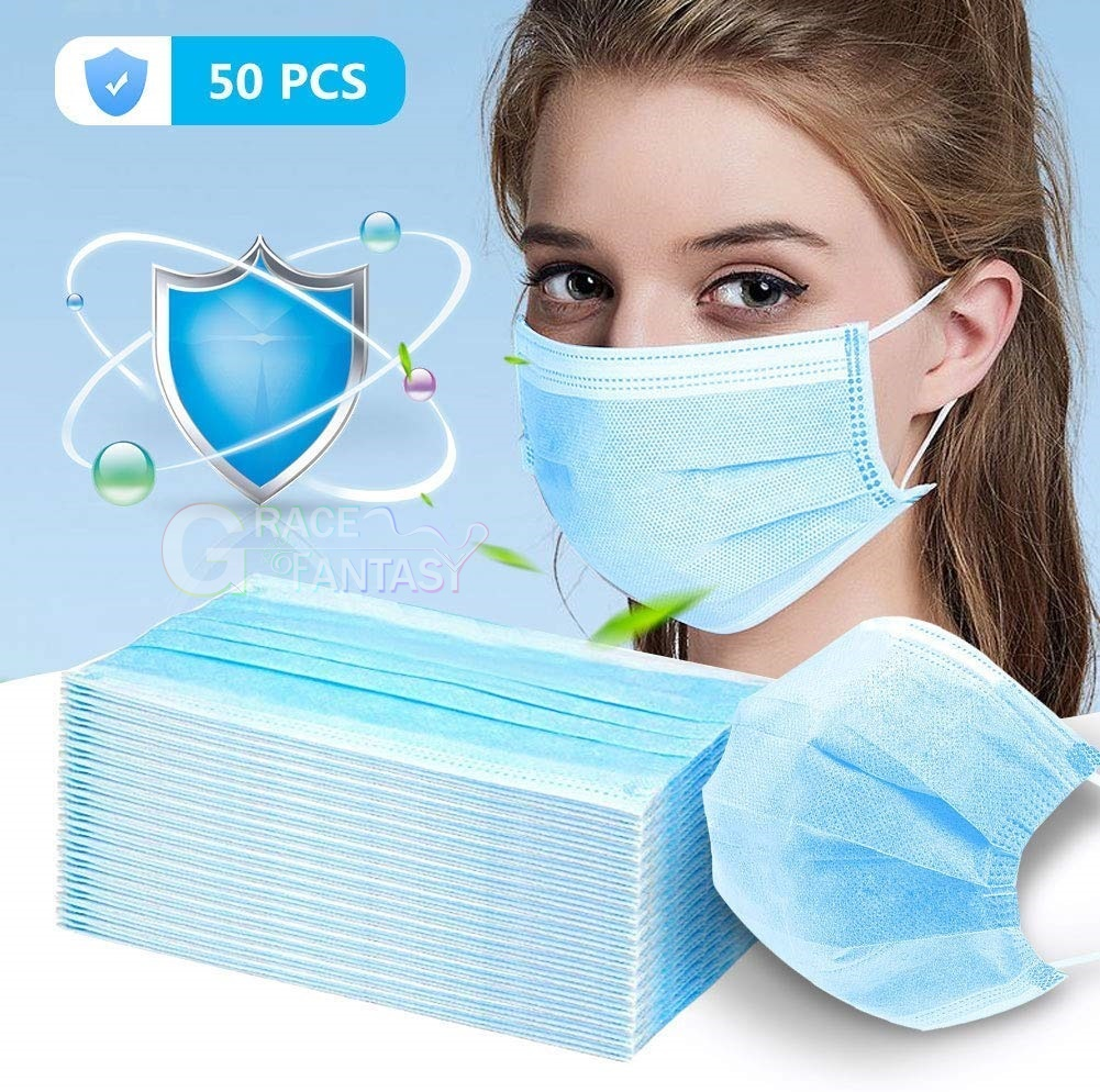 Disposable Face Mask Surgical Medical Ear Loop Mouth Masks(Blue 50pcs) Comfortable Sanitary   3-Layer Anti Dust Breathable Protection and Personal Health Professional