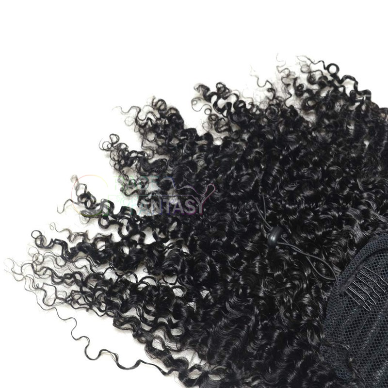 3B 3C Kinky Curly Ponytail Hair Extension Clip in Wrap Around Curly Ponytail Hair Extension Hairpiece Natural Color