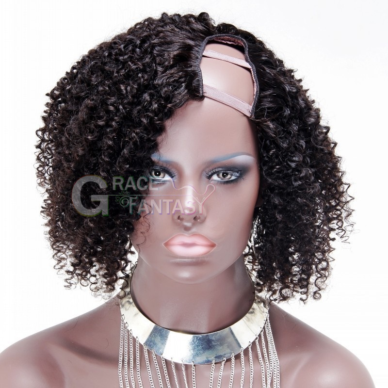 Premium quality Unprocessed Virgin Brazilian Kinky Curly U Part Human Hair Wigs Natural Hair Wigs for Black Women