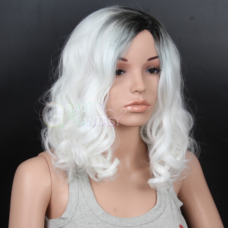 Natural Looking Middle Part Dark Roots White Curly Wig