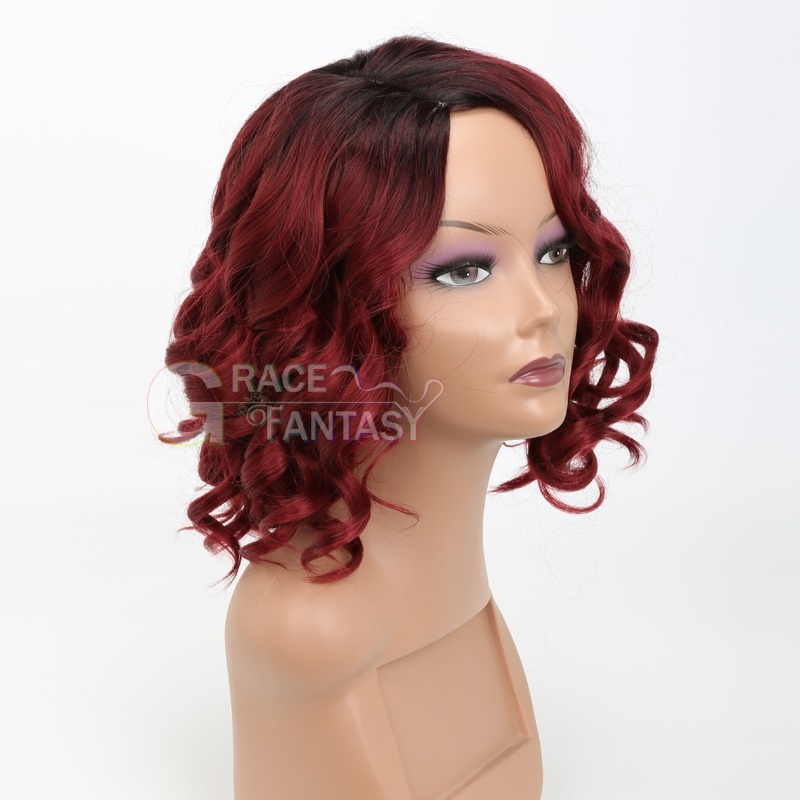 African American Ombre Wine Red Short Wigs