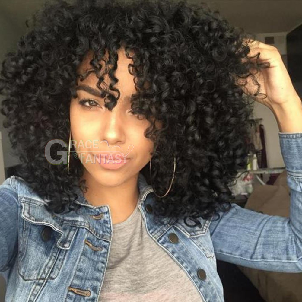 Natural Looking #1B Synthetic Curly Hair Wigs for Women Shoulder Length Long Curly Wigs With Bangs for African American Heat Resistant Party Wigs
