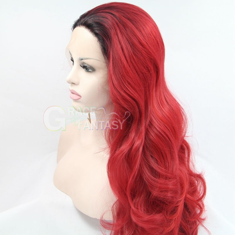 High quality two tone lace front synthetic wigs