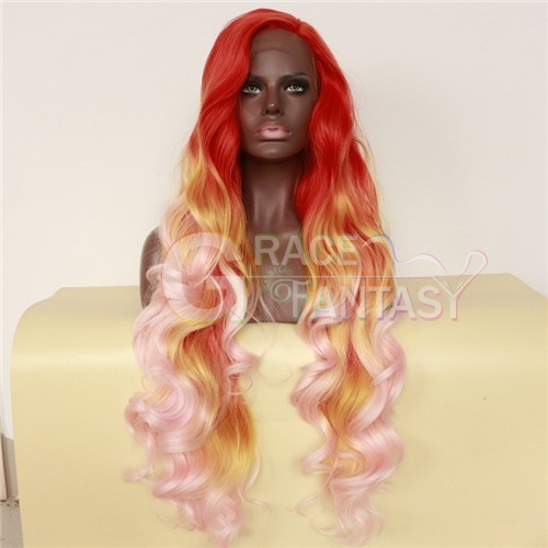 "Synthetic fashion wigs 24"" Long Wavy Purple & Pink With Black Lace Front Wigs Synthetic Hair Heat Resistant"