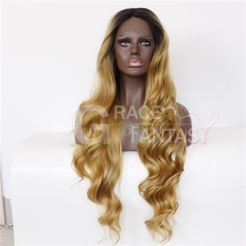 Blonde Body Wave Synthetic Lace Front Wigs For Black Women 26inch Long Wavy Trends Medium Cap Synthetic Hair Wigs