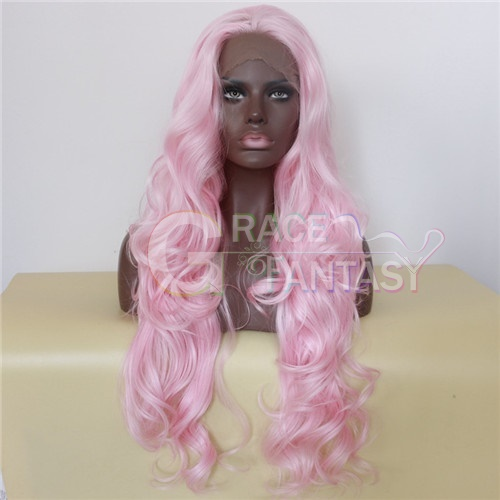 Pink Synthetic Wigs Bodywave Synthetic Lace Front Wigs Glueless Long Natural Heat Resistant Hair Wigs