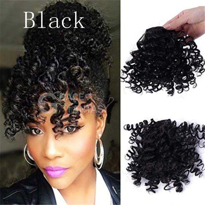 Grace Fantasy Hair curly style black human hair bangs with clip natural looking easy wear hair   pieces extensions for women