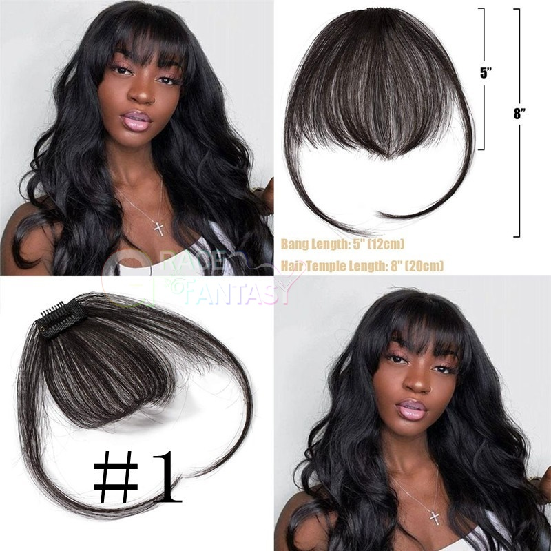Grace Fantasy Hair Human hair different color black brown natural looking bangs with clips fringe hair extensions hair pieces for women