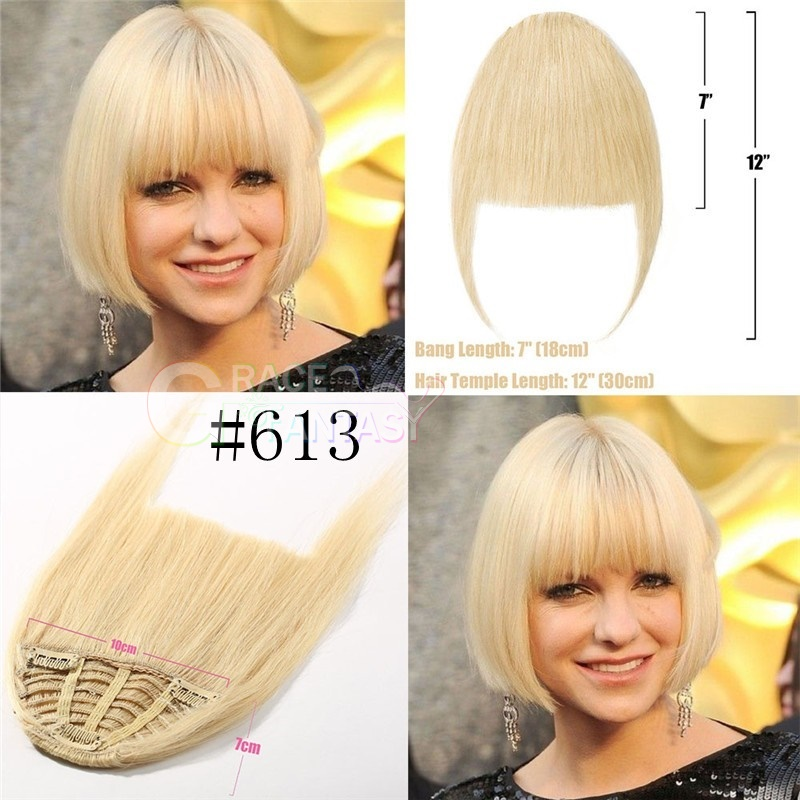 100% human hair extensions bangs with clip