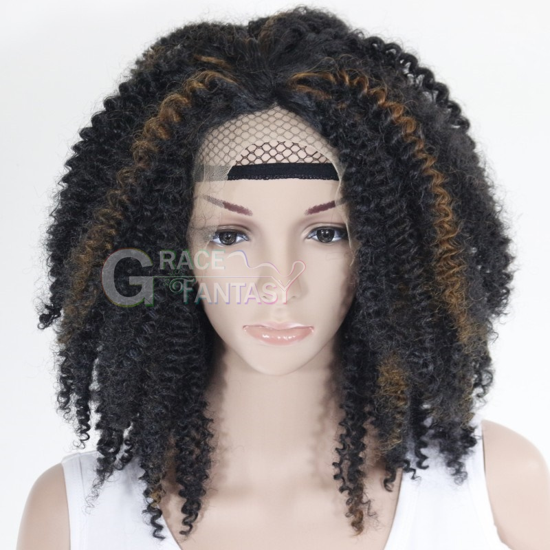 Wholesale Afro Kinky Curly Highlighted Wigs Black Highlight Blonde Lace Front Synthetic Wigs Curly Hair Short Wigs For Black Women