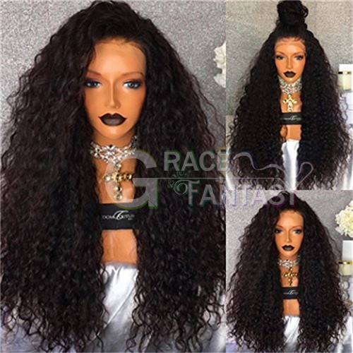 Glueless #1B Heat Resistant Synthetic Front Lace Wigs for Black Women Long Curly Synthetic Wigs with Baby Hair Pre Pluckes Black Hair Curly Wigs
