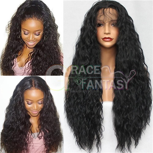 Synthetic hair 20inch Golden yellow Curly Synthetic lace front wigs