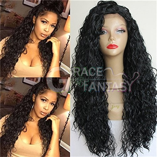 Glueless Brown Afro Kinky Curly Synthetic Lace Fronts for African American Synthetic Wigs for Women 20inch
