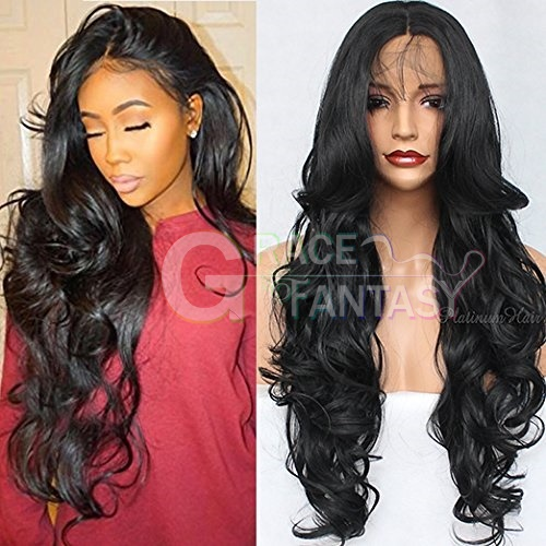 Long Curly Wavy Light Purple Heat Resistant Synthetic Lace Front Wigs