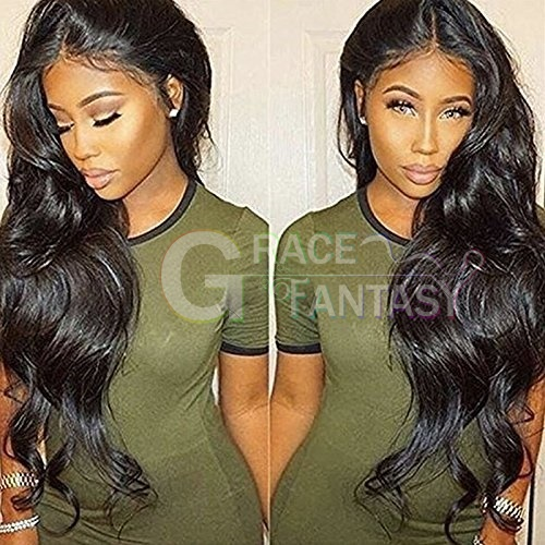 Natural Black synthetic lace front wig