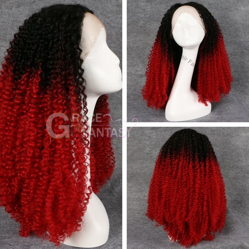 Fast shipping heat resistant fiber kinky curly synthetic lace front wig for black women