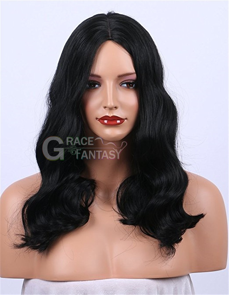 Loose curly synthetic lace front wig