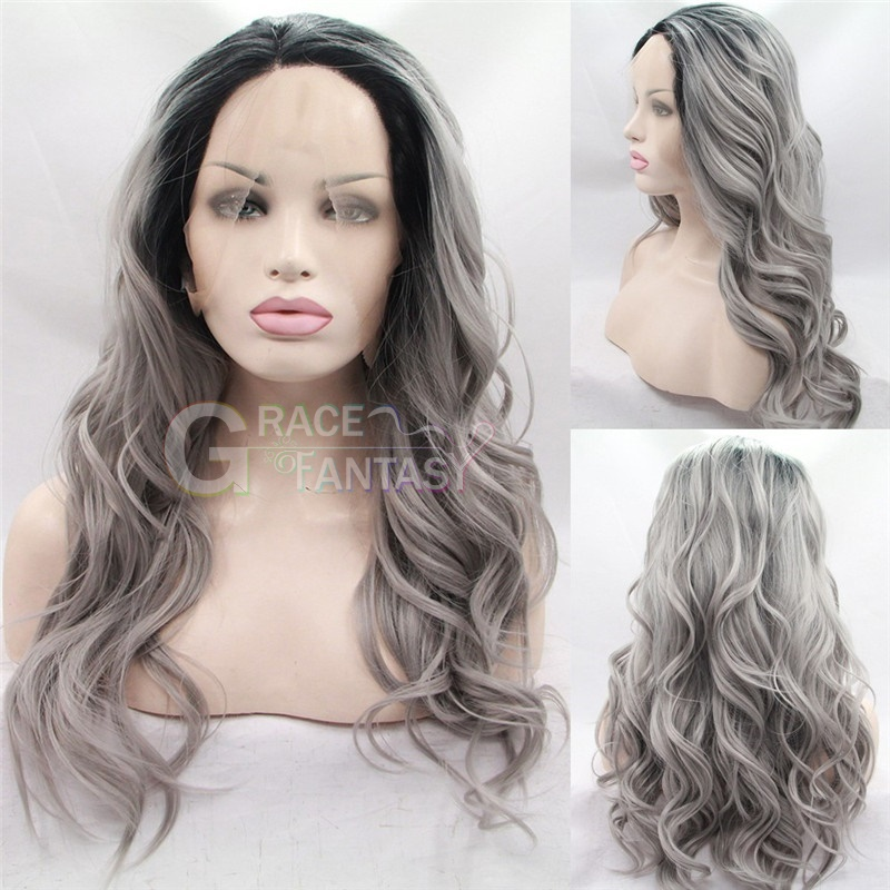 Hot selling!!!Ombre Grey Wig Natural Wave Black Ombre Grey Lace Front Synthetic Wigs For Women