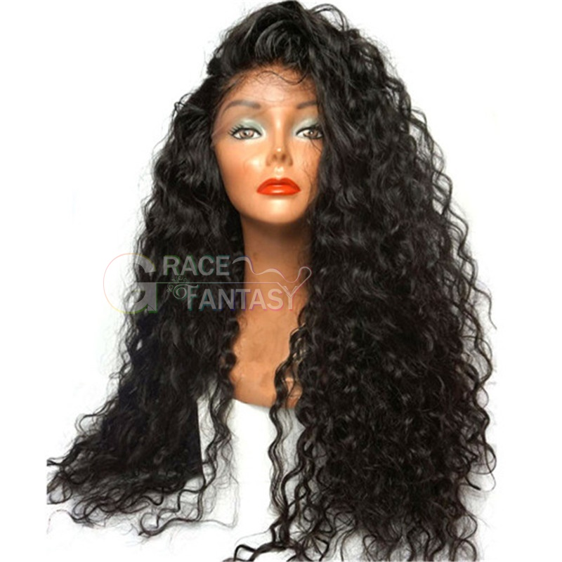 Grace Fantasy Premium Quality Long Curly Synthetic Lace Wigs #1B Black Hair Curly Wig for African Americans