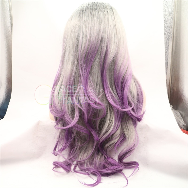 Black Root Gray Ombre Purpler Middle Part Synthetic Hair Wigs for Women