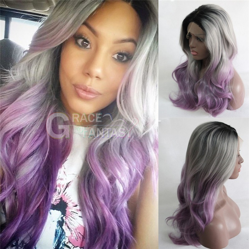 High Quality Grace Fantasy Synthetic Hair Lace Wigs Glueless Long Synthetic Hair Wigs Wavy With Baby Hair For Black Women Wavy Lace Wigs Bleached knots