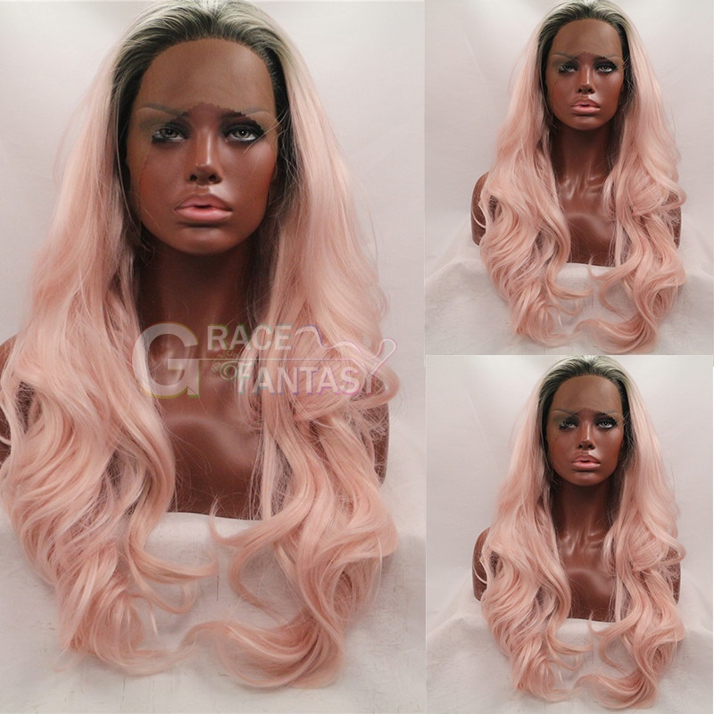Grace Fantasy Natural Looking Pink Synthetic Hair Lace Front Wigs Affordable Lace Wigs Long Glueless Two Tone Synthetic Wigs With Natural Hairline Dark Roots