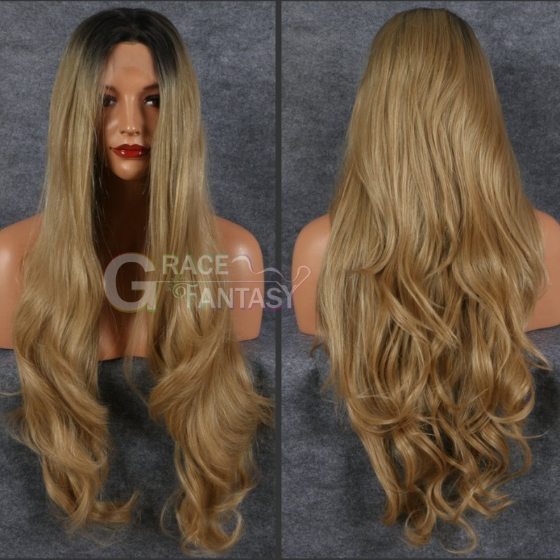 Long Dark Root Blonde Synthetic Wig Ocean Wavy Glueless Synthetic Front Lace Wigs for Women