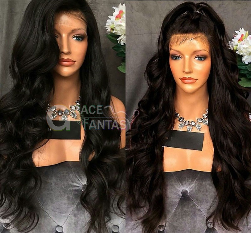 Wavy Long Synthetic Hair Wigs Synthetic Lace Front Wigs with Baby Hair Pre Plucked Hairline Bleached Knot Natural Glueless Lace Front Wig