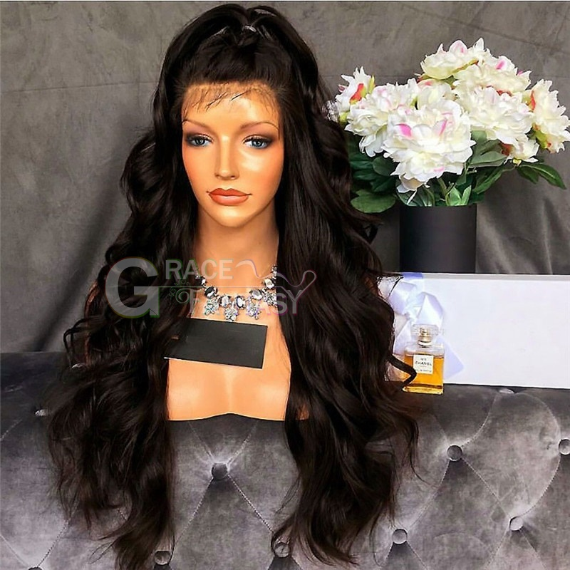 Pre Plucked Hairline Bleached Knot Natural Glueless Lace Front Wig