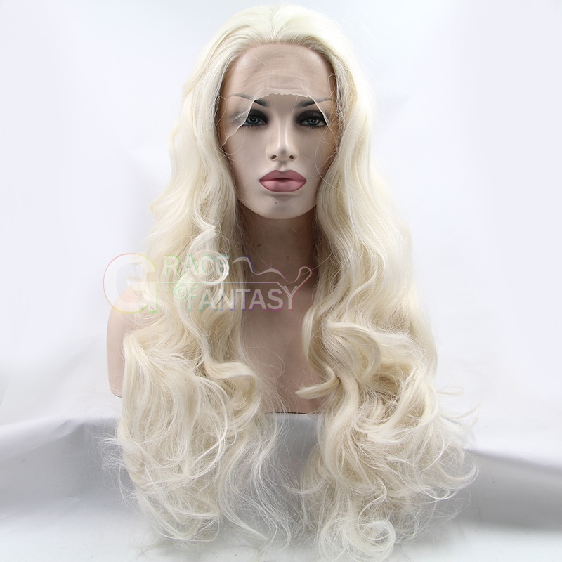 Hand Tied Heat Resistant Fiber Natural Wigs Bleached knots Free part