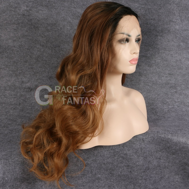 Two Tones Dark Roots Long Wavy Front Lace Wig