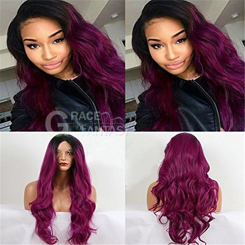 Ombre Long Wavy Synthetic Lace Front Wigs Two Tone Color 1B Black Root To Purple Heat Resistant Hair Wigs For Women