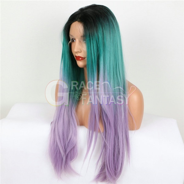 Black Roots Green/Purple Ombre Lace Front Synthetic Wigs