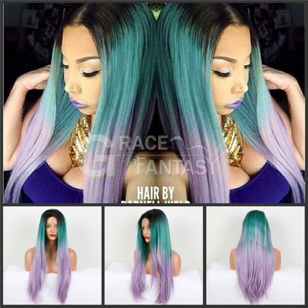 High Quality Straight Synthetic Hair Lace Front Wigs for Women Heat Resistant Fiber Black Roots Green/Purple Ombre Lace Front Synthetic Wigs